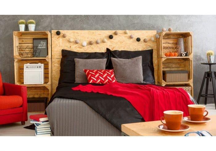 tete de lit caisse en bois